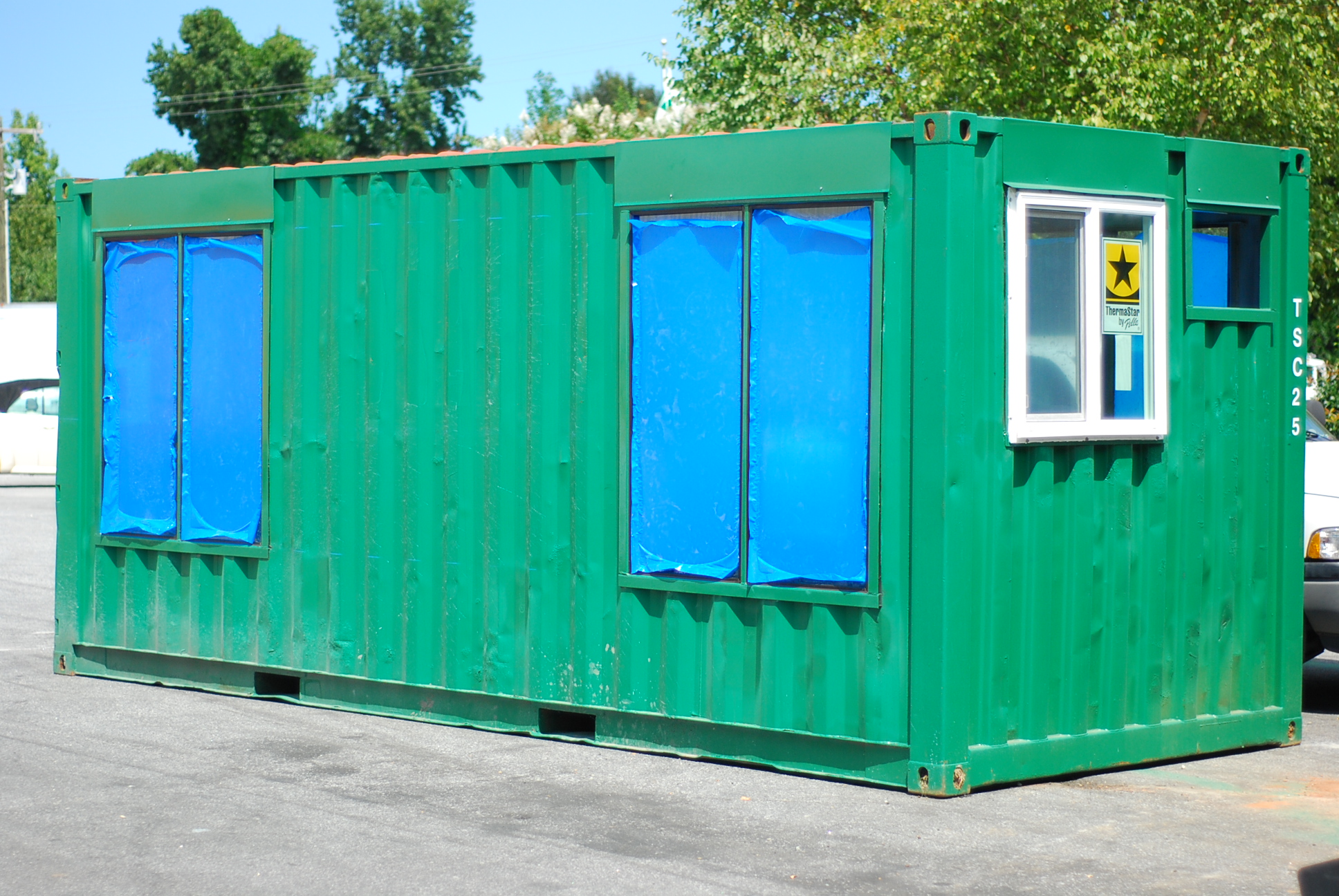 Green custom container with windows
