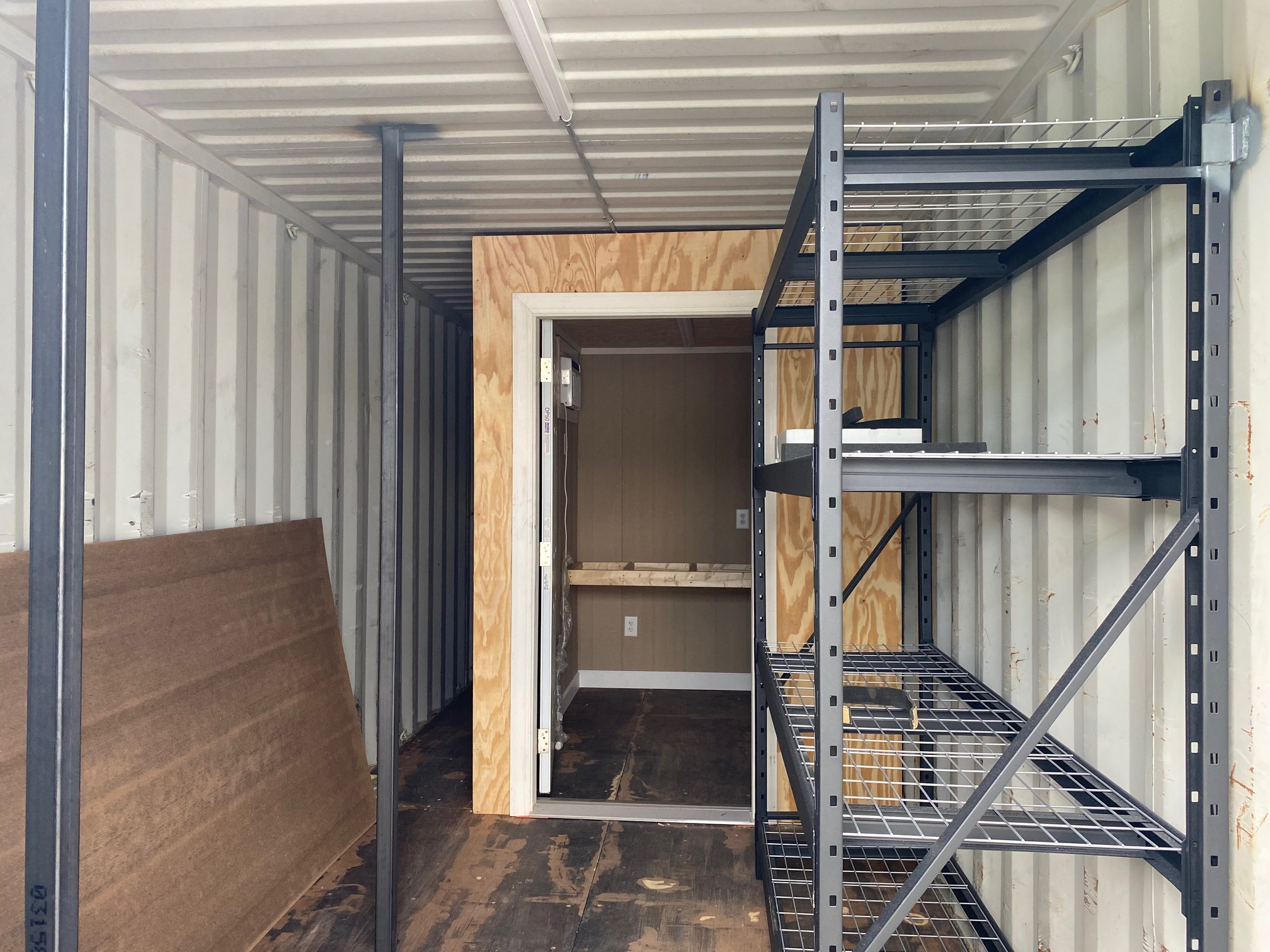 Shelving and interior of storage container